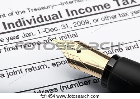 Stock Photo   1040 U S  Individual Income Tax Return Form And Fountain