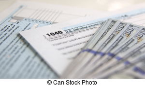Tax Form 1040 With 100 Dollars Banknotes