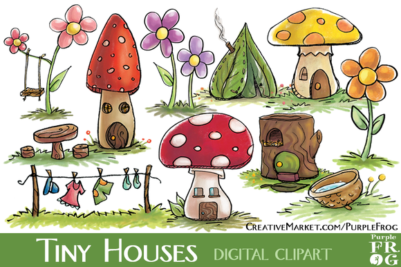 Tiny Houses   Digital Clipart   Illustrations On Creative Market