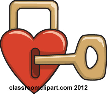 Valentines Day   Heart With Lock Key 165   Classroom Clipart