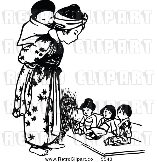 Vector Clipart Of A Retro Black And White Asian Girl And Tiny Children
