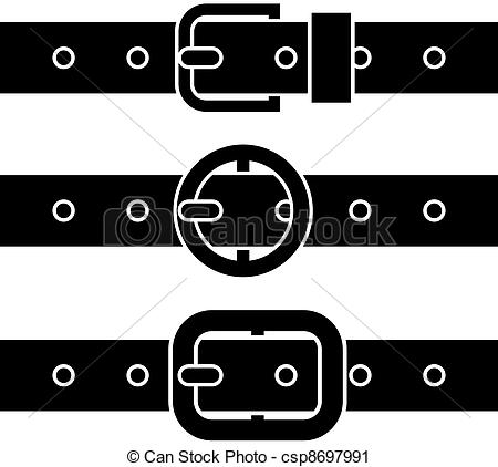 Art Of Vector Buckle Belt Black Symbols Csp8697991   Search Clipart