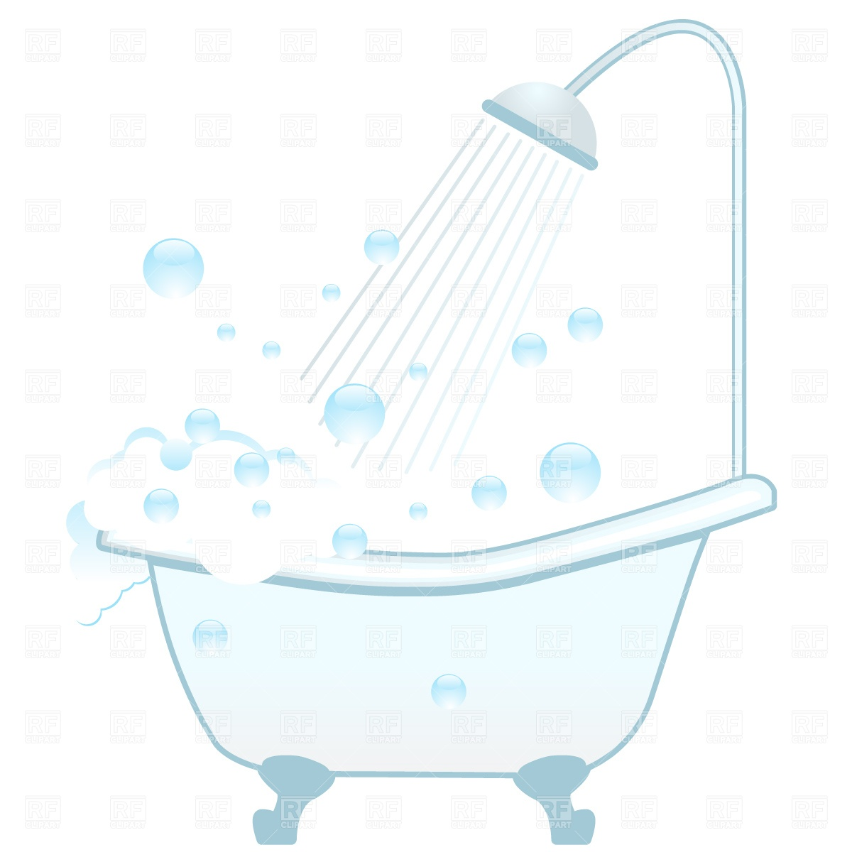 Bathtub Shower And Foam Download Royalty Free Vector Clipart  Eps