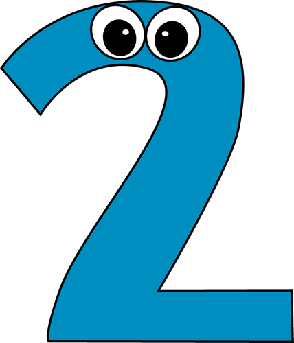 Cartoon Number Two Clip Art Image   Blue Number Two With Cartoon Eyes