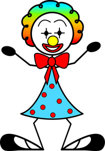Clown Cartoon Clipart Image   Silly Clown With Rainbow Wig Big Shoes