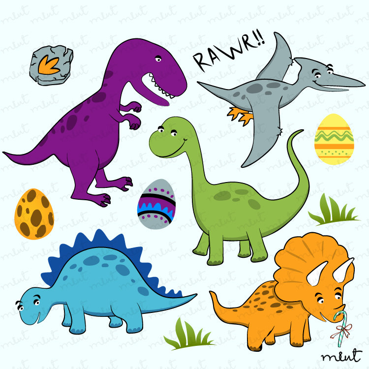 Dinosaur Digital Clip Art Set For Scrapbooking By Memomint On Etsy