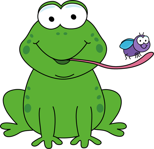 Frog Eating A Fly Clip Art Image   Cartoon Frog With Its Tongue Out