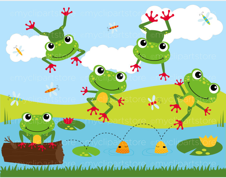 Frog Pond Clipart - Clipart Kid