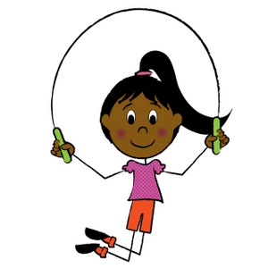 Jump Rope Clipart Image   Stick Figure Hispanic Girl Jumping Rope