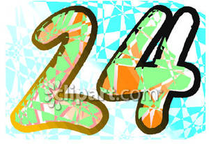 Number 24 Clipart Brightly Colored Number 24
