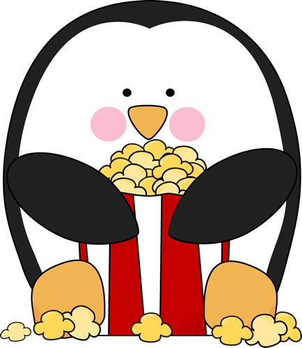 Popcorn Clip Art Image   Penguin Sitting Down And Eating Popcorn Out