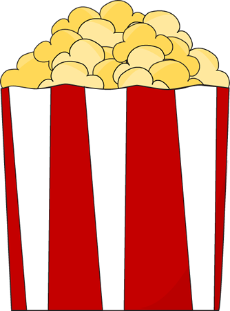 Popcorn Clip Art Image   Red And White Striped Box Of Buttery Popcorn
