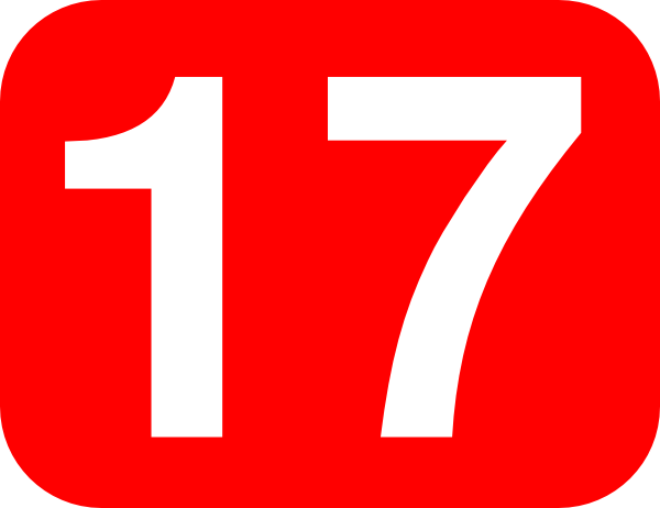 Red Rounded Rectangle With Number 17 Clip Art