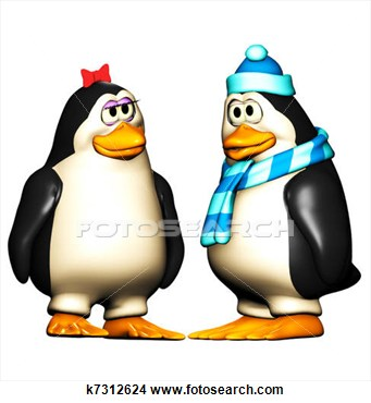 Silly Girl Clipart Two Cute Penguins Boy Penguin Acting Silly  Girl
