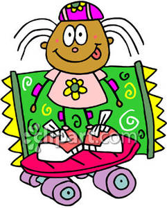 Silly Girl Skateboarding   Royalty Free Clipart Picture