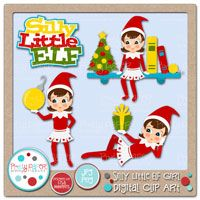 Silly Little Elf Girl Digital Clip Art   Elf On The Shelf Fun   Pinte