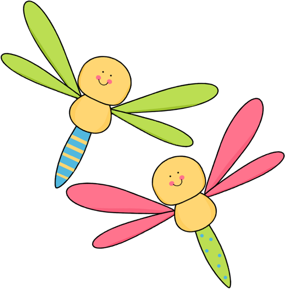 Two Dragonflies Clip Art Image   Two Dragonflies Flying Together
