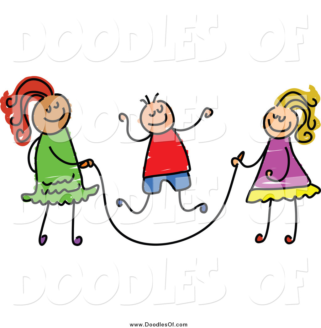 Vector Clipart Of Doodled Children Playing With A Jump Rope By Prawny