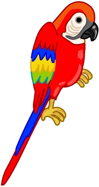 Clip Art Of A Red Parrot With Colorful Feathers