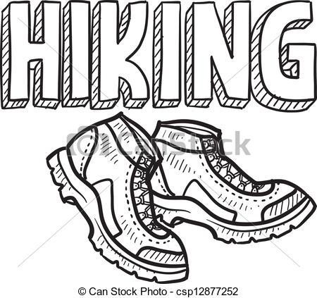 Clipart Vector Of Hiking Sketch   Doodle Style Hiking Outdoor Sports