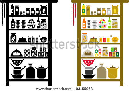 Food Pantry Clip Art Black And White Vectorized Pantry   Stock