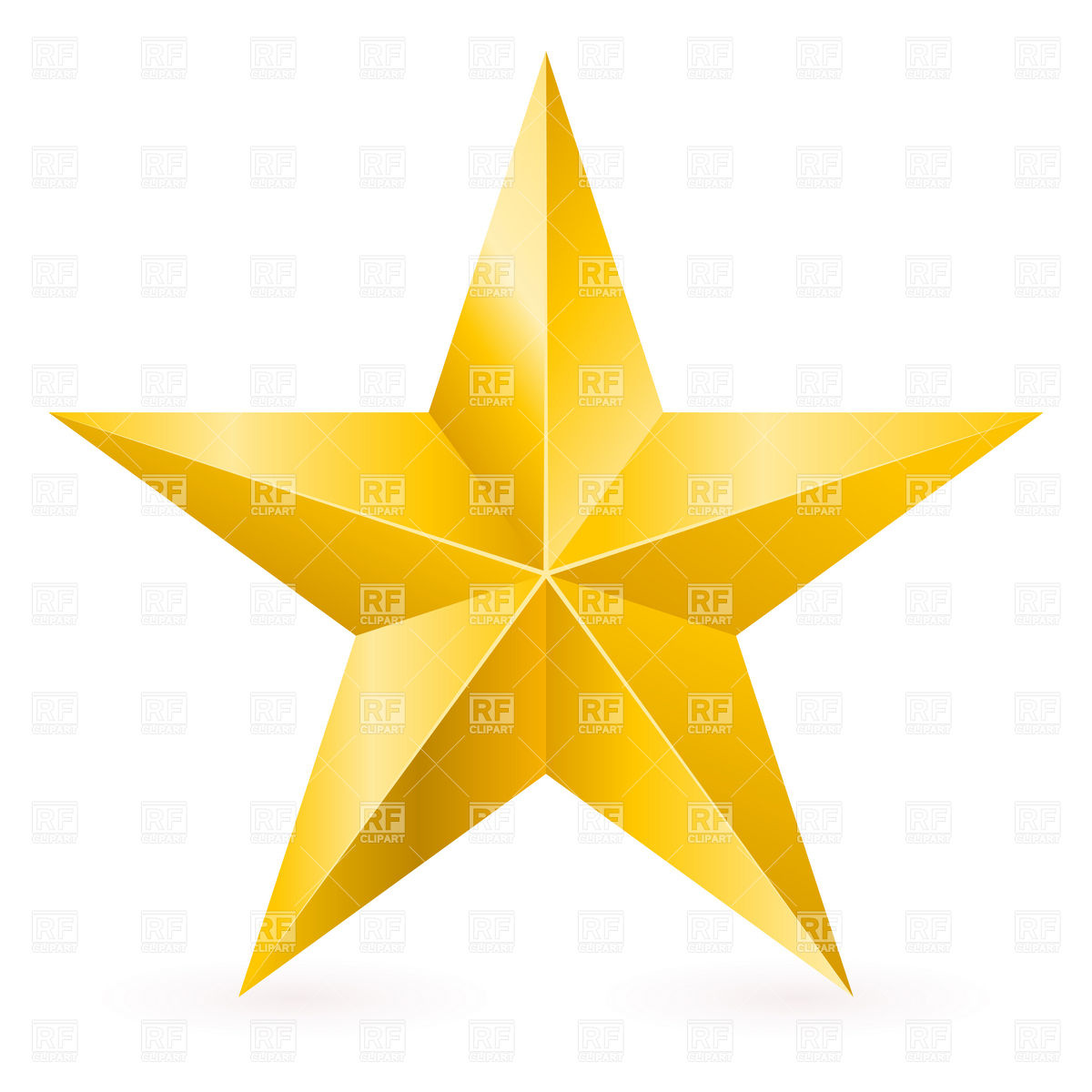 Golden Five Point Star With Facets 7309 Icons And Emblems Download