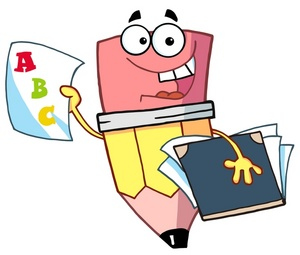 Learning Clipart Image   A Pencil Holding A Folder And A Report Card