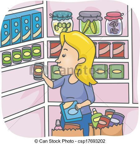 Vector Clipart Of Pantry Stockpile   Illustration Of A Woman Stocking