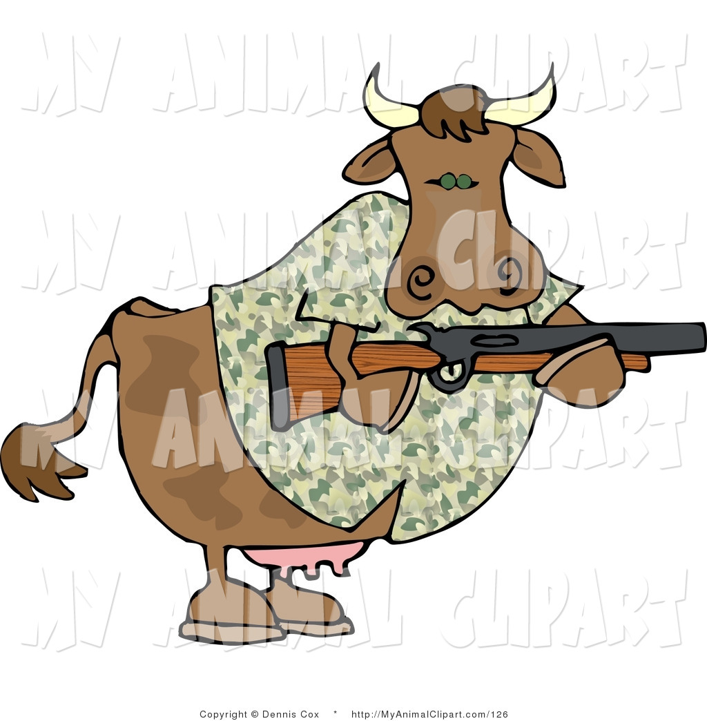 Camouflaged Cow Holding A Hunting Rifle In His Hooves Male Cow Hunter