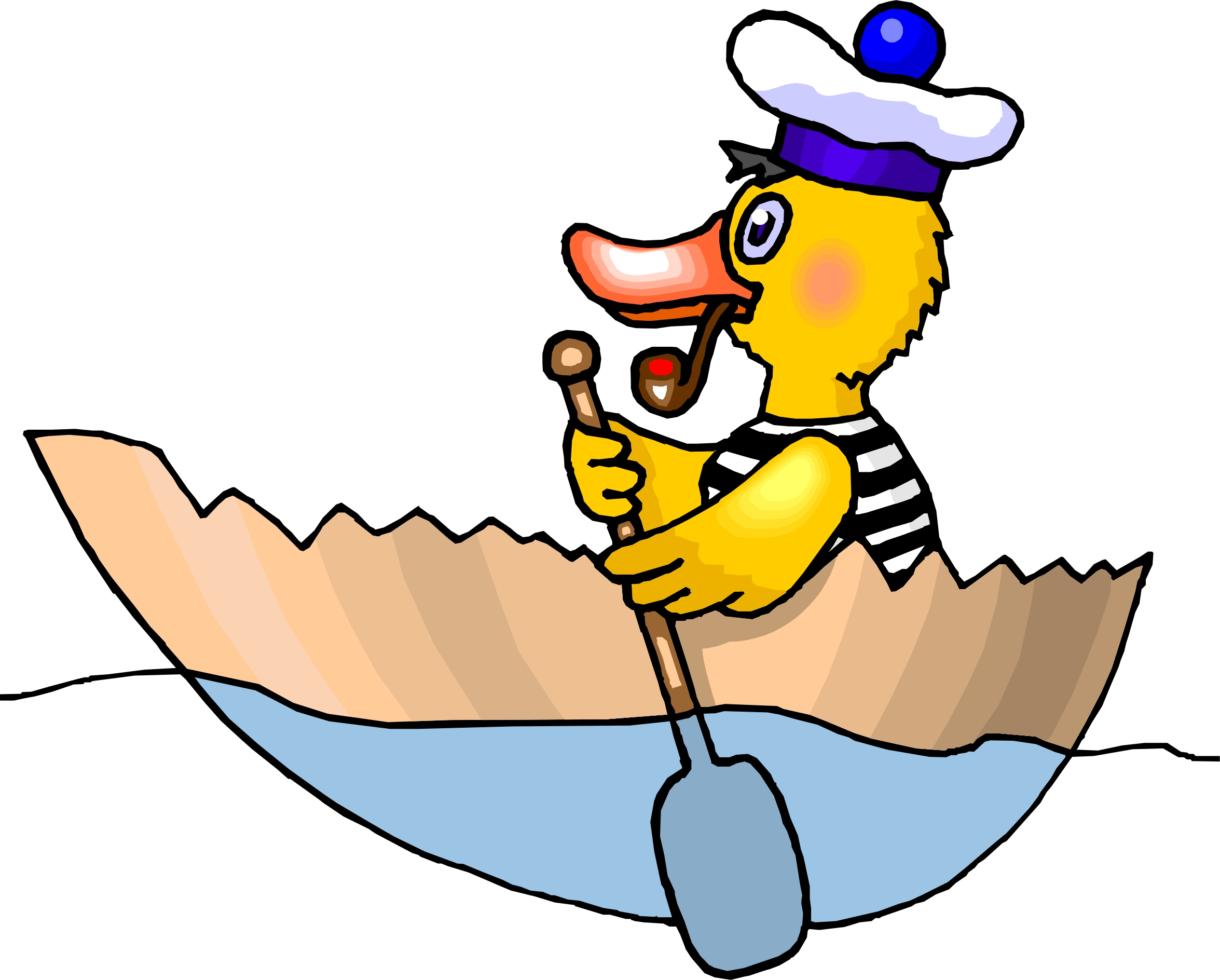 Cartoon Duck Rowing A Boat