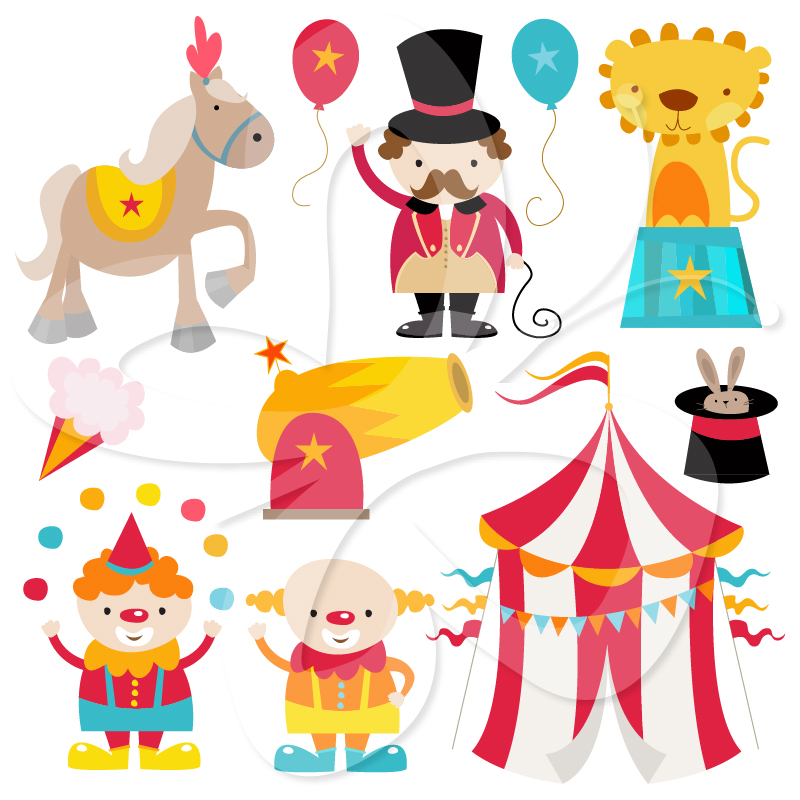 Circus Clipart Set   Creative Clipart Collection