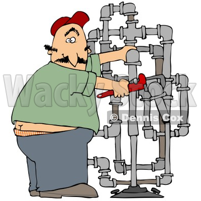 Clipart Illustration Of A Surprised Male Plumber Turning With A