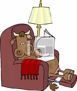 Cow Sitting In A Recliner With Her Hooves Up Reading The Newspaper