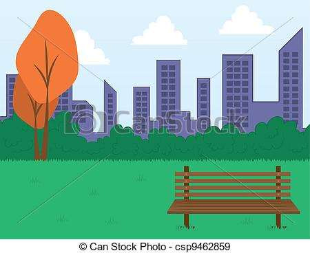 Eps Vectors Of Park Scene And Buildings   Park Scene With Bench And