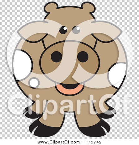 Free  Rf  Clipart Illustration Of A Fat Brown Cow With Black Hooves