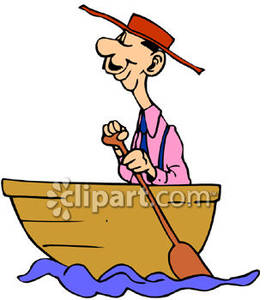 Funny Man Rowing A Boat   Royalty Free Clipart Picture