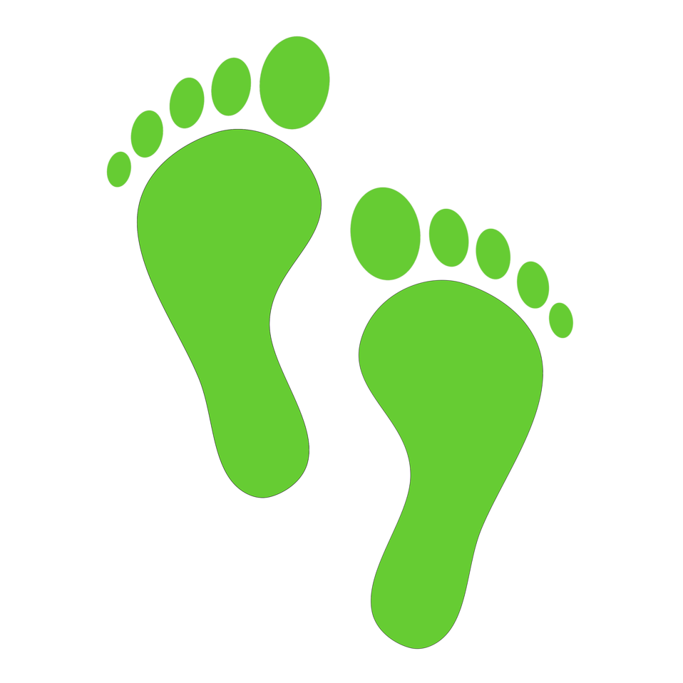 Illustration Of Green Human Footprints With A Transparent Background