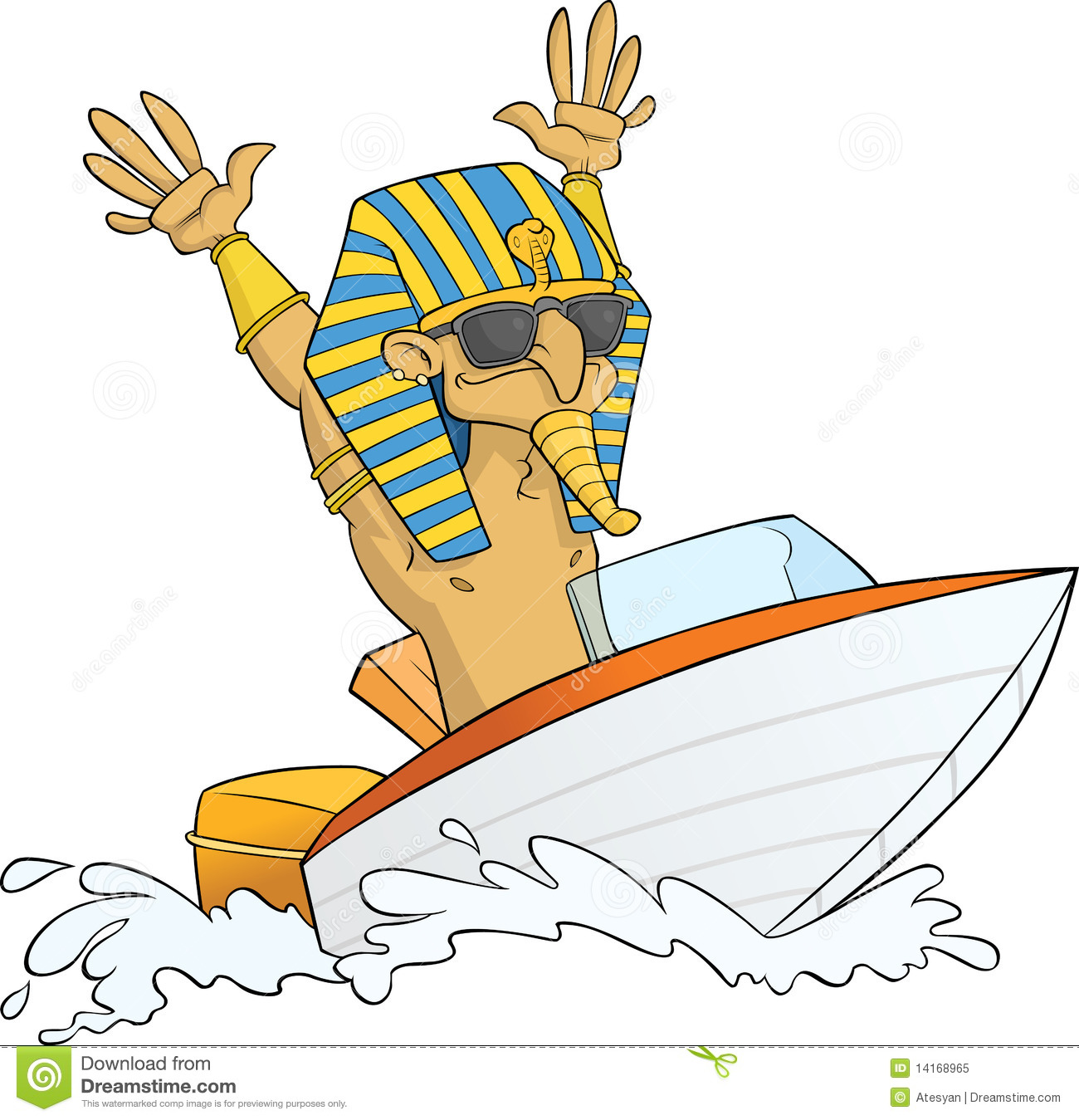 Pharaoh Having Fun On His Speed Boat  Ai8 Eps Vector File Available
