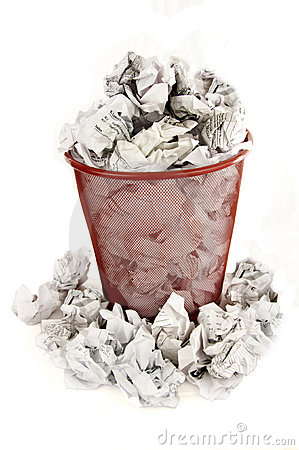 Trash Bin Is Filled With Paper Waste Royalty Free Stock Image   Image