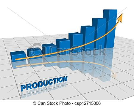 Vector Clipart Of Production Graph   Vector Graphic Of A Graph Showing
