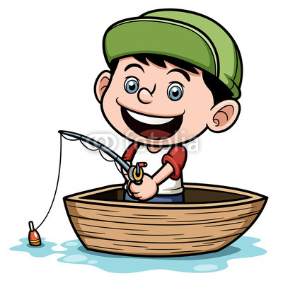 Vector Illustration Of Boy Fishing In A Boat By Sararoom Royalty Free