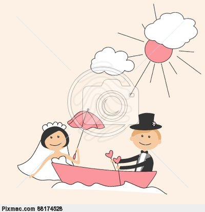 Wedding Invitation With Funny Bride And Groom On A Park Bench Hand