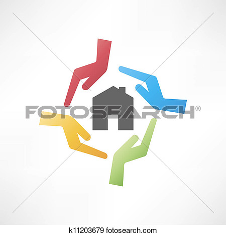 Clip Art Concept Of Safe House Fotosearch Search Clipart