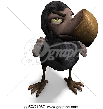 Clip Art   Very Funny Toon Dodo Bird  3d Rendering With Clipping Path