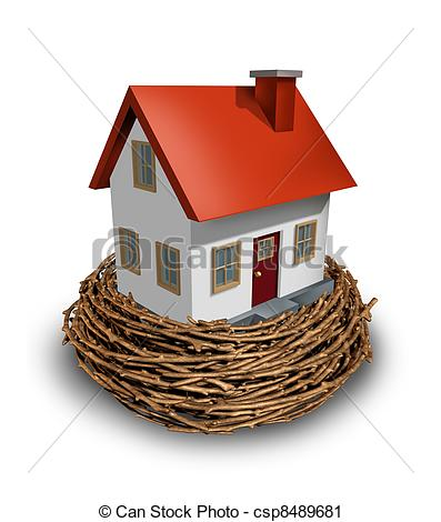 Clipart Of Home Investment As Safe Investing In A Real Estate Nest Egg