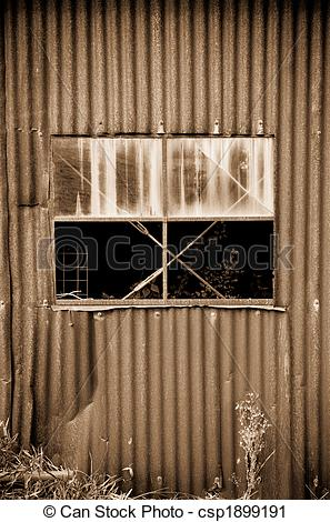 Clipart Of Old Rusty Metal Tin Shed   Old Rusty Tin Shed And Window