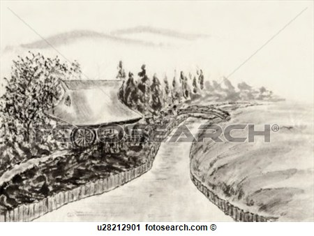 Clipart   River And Water Mill Ink Painting Vignette  Fotosearch