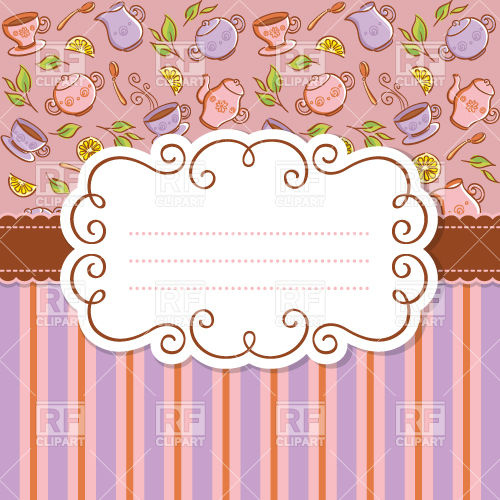 Curly Frame On Background With Tableware And Stripes   Invitation