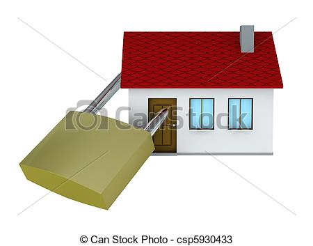 Drawings Of Safe House   One 3d Render Of A House With A Padlock