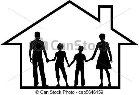 Eps Vectors Of Family House Parents Kids Inside Safe Home   Secure